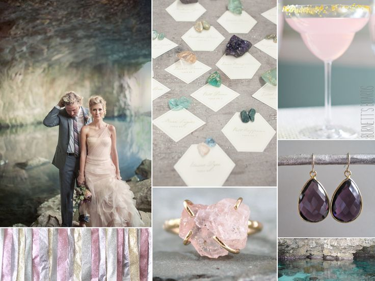 Gemstone themed wedding inspiration board  For a beautiful and romantic nature-themed wedding, combine the soft pink colors in this wedding inspiration board with purple, aqua, and teal for a color palette reminiscent of your favorite precious stones.