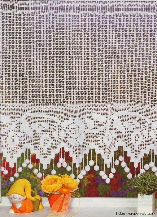 Simple and elegant crochet curtain, filet work ♥LCC-MRS♥ with diagram