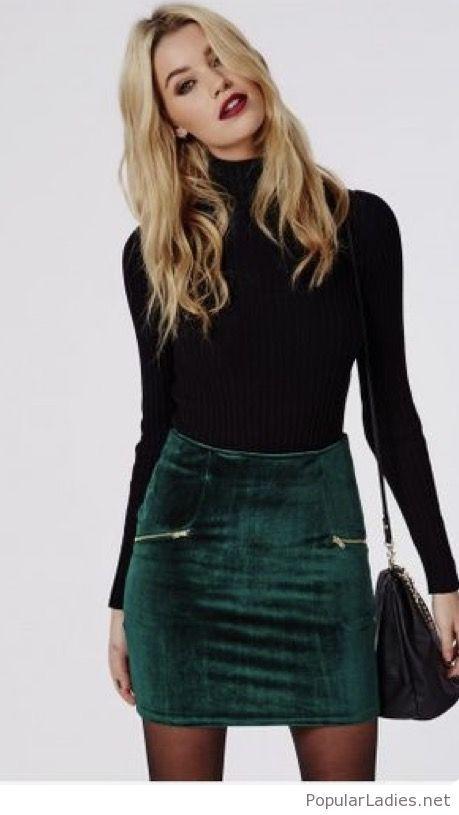 green-velvet-skirt-and-black-blouse