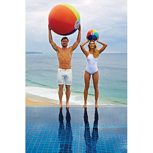 SULBALLF  35.5 x 35.5 x 35.5 Inches  PVC  Sunnylife guarantees that your summer won't suck - it'll blow! This giant  beach ball is fun for all. Made from durable PVC, including a puncture  repair kit (just-in-case) - summer is blowing up!