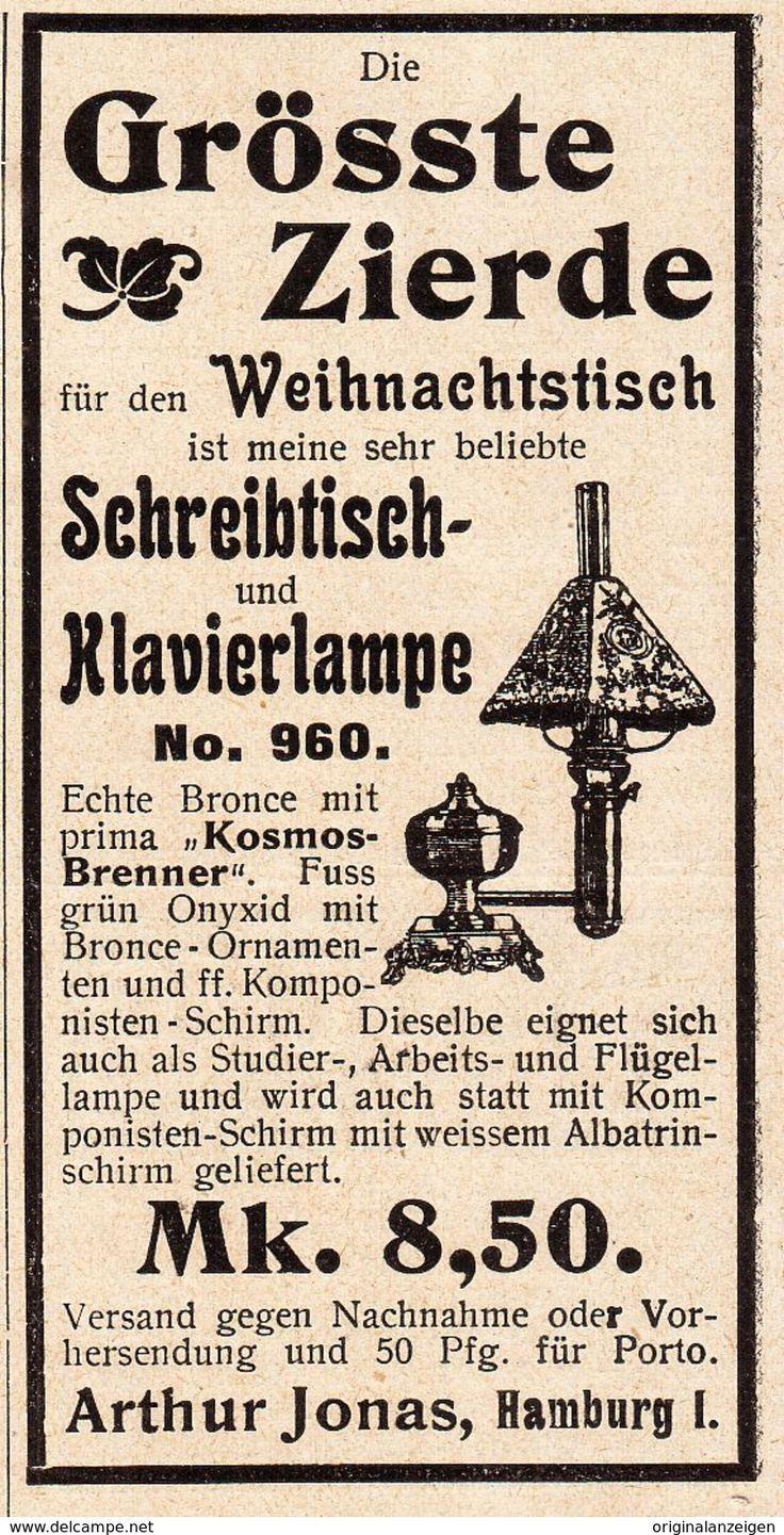 Werbung - Original-Werbung/ Anzeige 1902: SCHREIBTISCH - UND KLAVIER - LAMPE / JONAS HAMBURG - ca. 45 x 90 mm