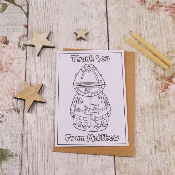 Spaceman Colouring in Thank You Card Children's by MakeWithMum