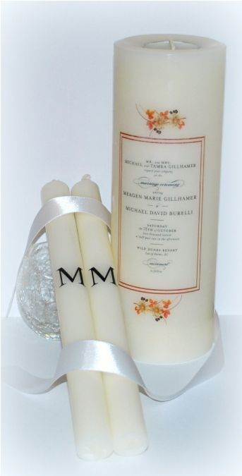 Custom Wedding Invitation Unity Candle Set by designsbydmcandles.etsy.com