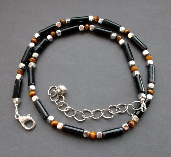 choker black Agate tiger's Eye. for men for by TatjJewelryWithSoul