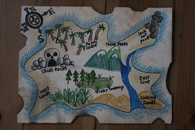Adorable homemade pirate map & game ideas.