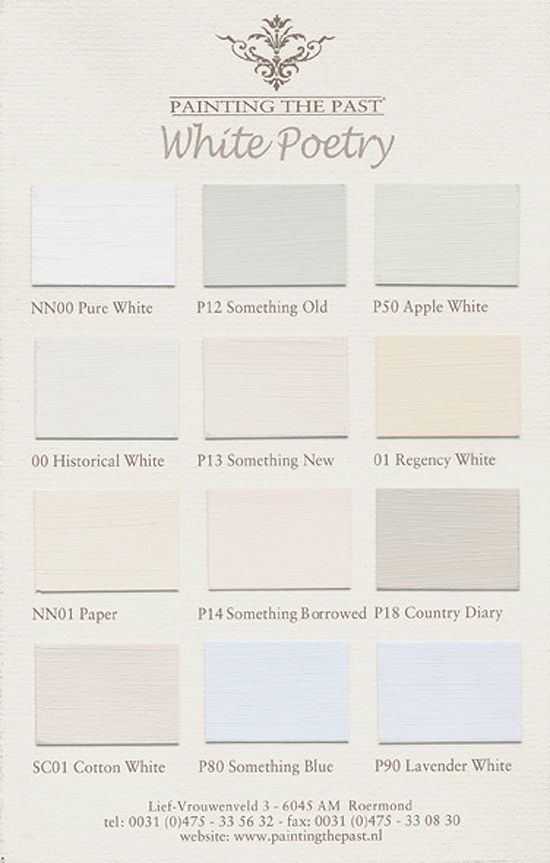 Colourcard White Poetry.  From Painting the Past.  Traditional paints.