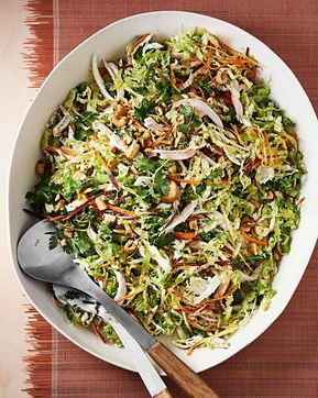 Ginger-Chicken Slaw Recipe | Martha Stewart Living — Ginger usually marries well with garlic, and this salad is no exception.