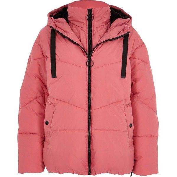 River Island Pink double layer hooded puffer jacket (€155) ❤ liked on Polyvore featuring outerwear, jackets, coats / jackets, pink, women, long sleeve jacket, river island jackets, puffer jacket, red jacket and drawstring jacket