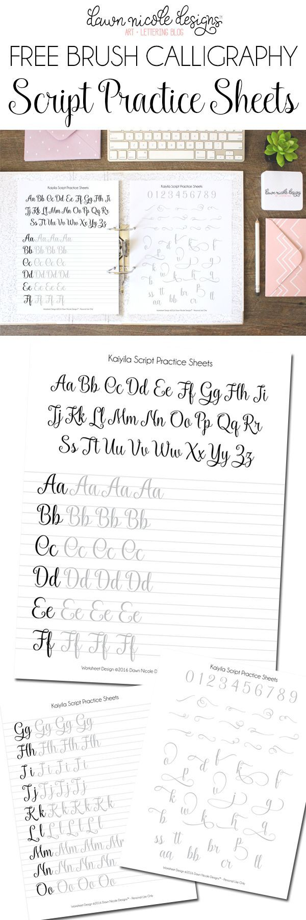 FREE Script Brush Calligraphy Worksheets | http://DawnNicoleDesigns.com
