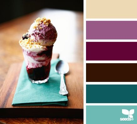Basement in buttercream, teal, chocolate and radiant orchid.