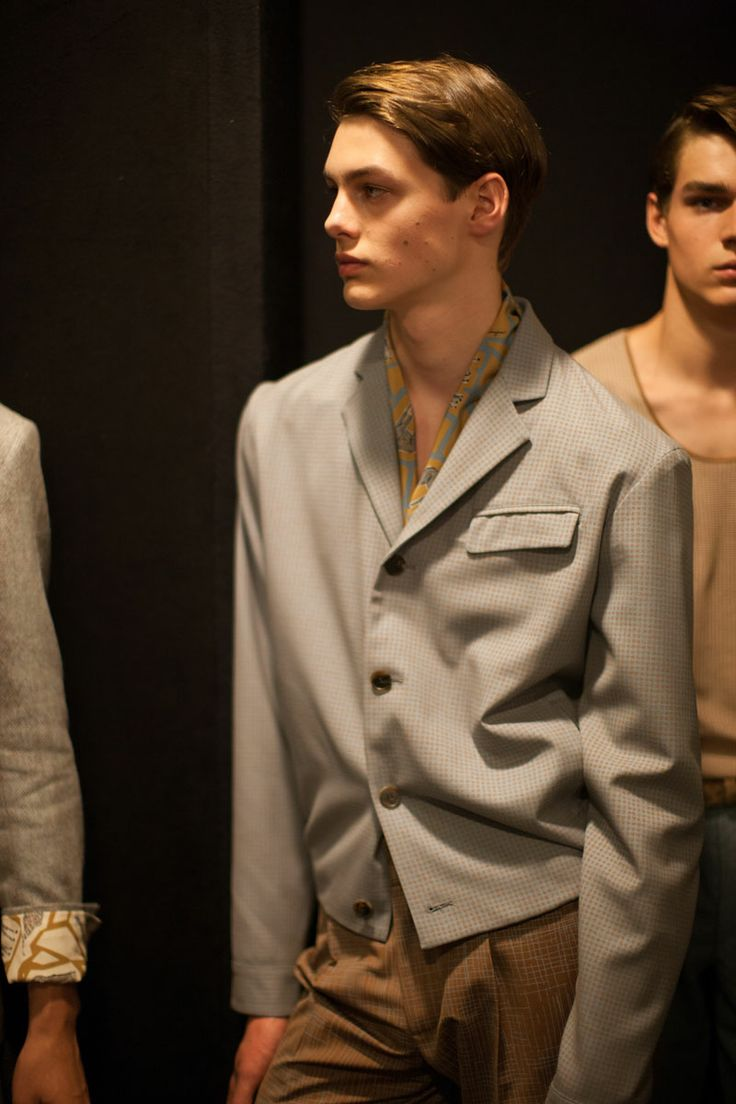 Backstage at the Ferragamo men's SS15 runway collection show in Milan