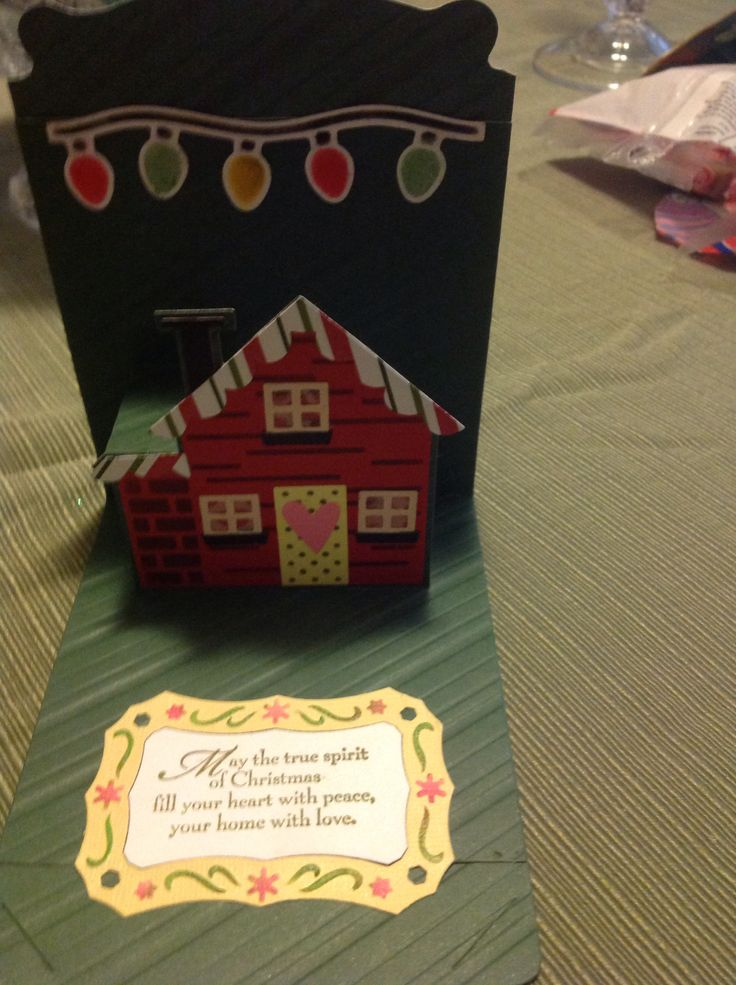 Roxanne Raby using the Stampin' Up! Pop 'n Cuts Base, the House Insert and the House Thinlits - Pop n cuts christmas house card