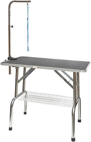 Go Pet Club Heavy Duty Stainless Steel Pet Dog Grooming Table with Arm, 36-Inch