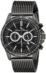 Lucien Piccard Men's LP-10056-BB-11-BLK Fidelity Black Stainless Steel Watch with Mesh Bracelet