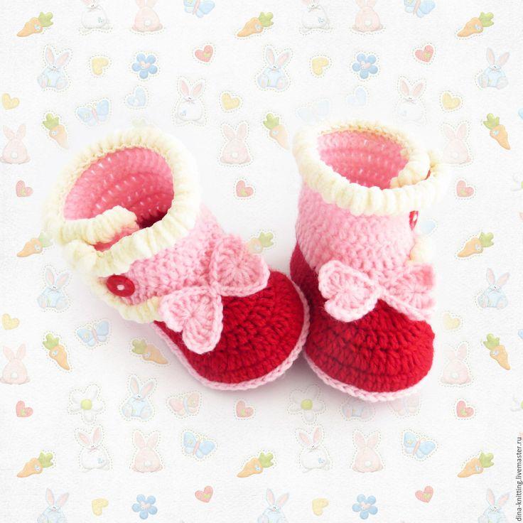 Купить пинетки детские для девочки пинетки угги сапожки вязаные красные - пинетки для девочки