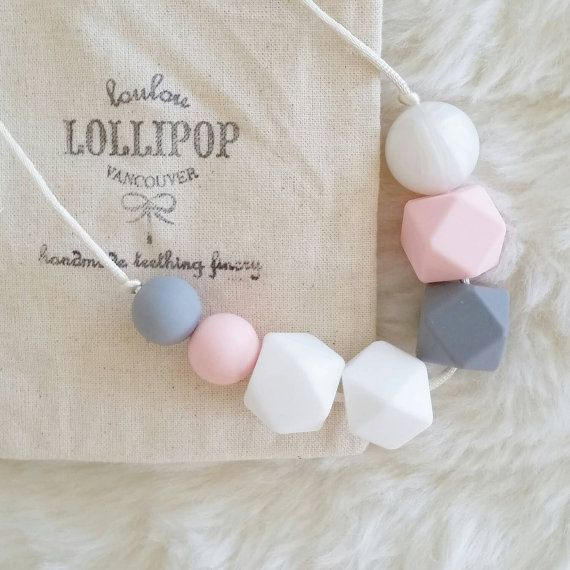 Grey Berry Silicone Bead Teething Necklace by LouLouLollipopFinery