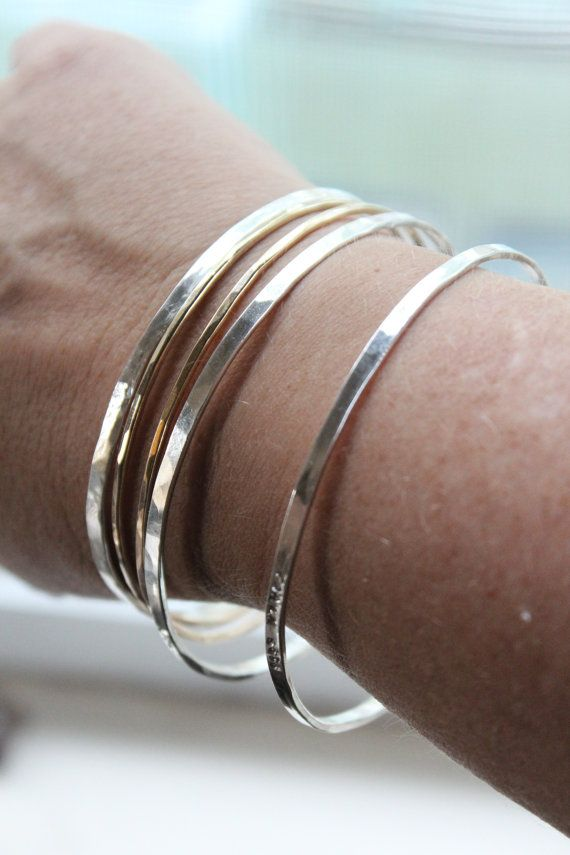 Stacking Personalized Bangles in Sterling Silver and by tinahdee