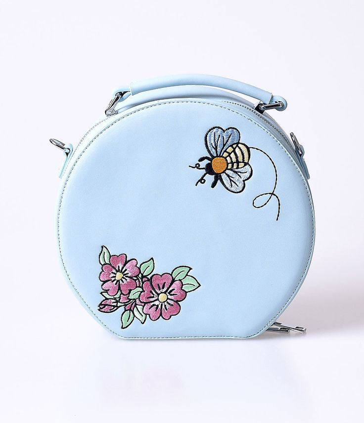Hell Bunny Dusty Blue Bee Bee Matte Leatherette Vanity Bag