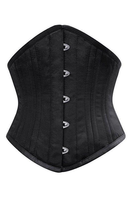 24 Staal Balein Zwart Satijn Waisttrain Corset - Ladywear Exclusieve Lingerie