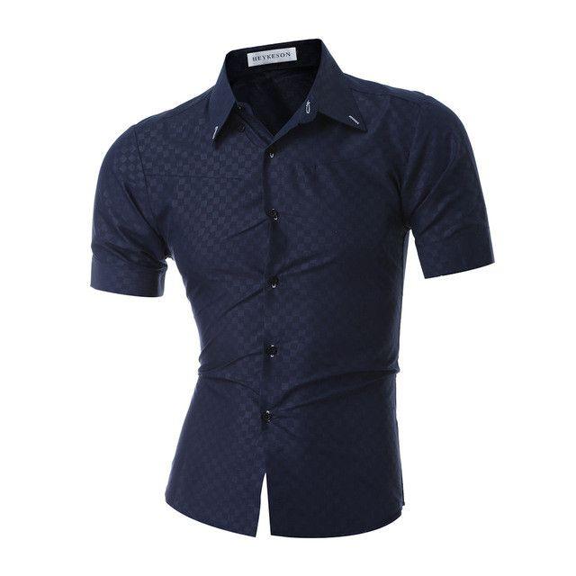 HEYKESON Men Short Sleeve Shirt Male Shirts Men Shirt Brand 2017 Mens Dress Shirts Hawaiian Camisa Social Masculina XXXL DF