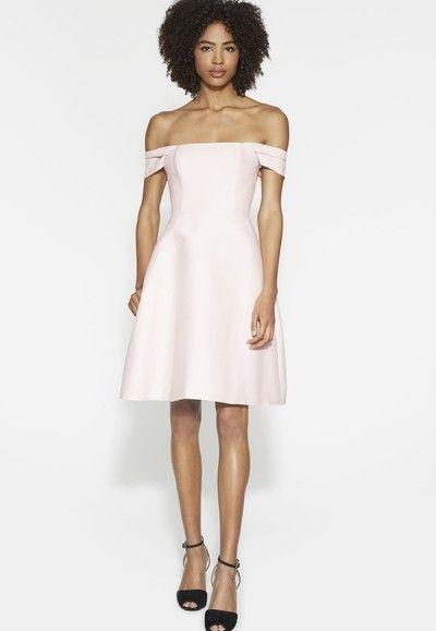 U0025, off-shoulder homecoming dresses, babypink, A-line, open back, short prom dresses
