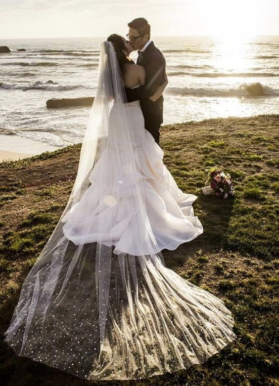 This bride is wearing the toni federici broadway veil that is this bride is wearing the toni federici broadway veil that is heavily beaded with swarovski crystals real brides pinterest veil junglespirit Gallery