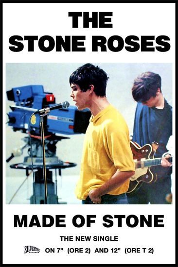 Promotional poster by Silvertone Records for the single Made Of Stone by Manchester band The Stone Roses, February 1989.