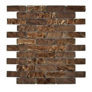 Jeffrey Court Bronze Trophy Foil 10 3 4 In X 12 In X 8 Mm Glass Mosaic Wall Tile