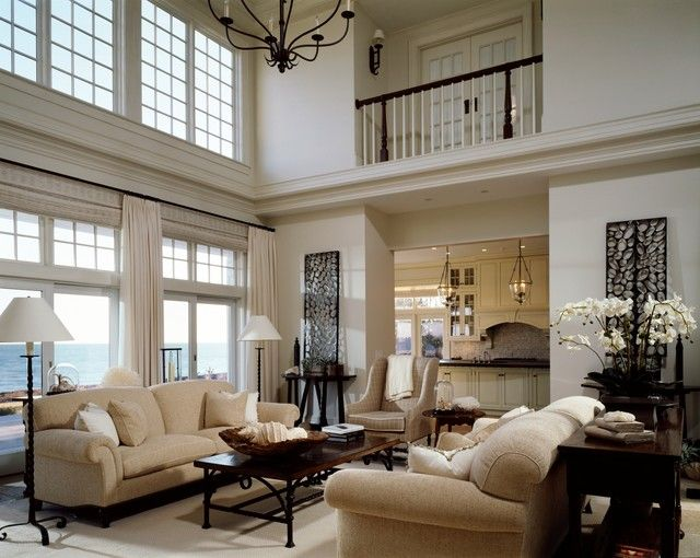 Neutral Living Room With Gorgeous Beach Views And High Ceilings SLC INTERIORS