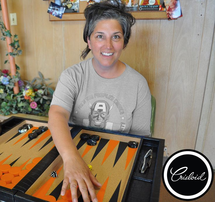 Marci enjoying her lovely morning playing a game of Backgammon! #summer #backgammon #Crisloid