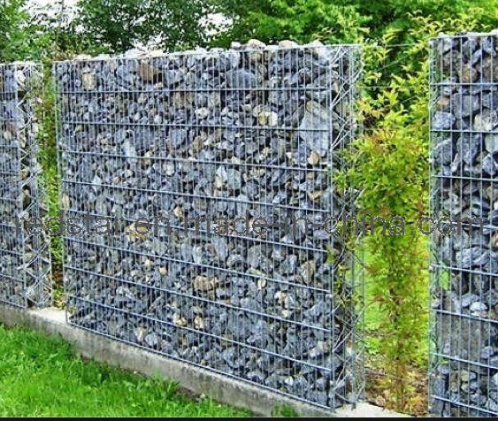 another example of gabion wall as a fence