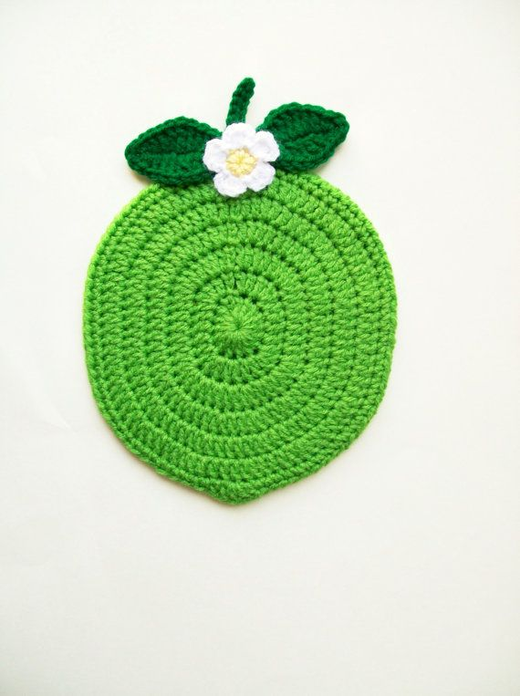 Fruit Potholder Lime Pot holder Hot Pad Trivet with Flower Housewarming gift Kitchen Wall Decor Handmade by littledarlynns