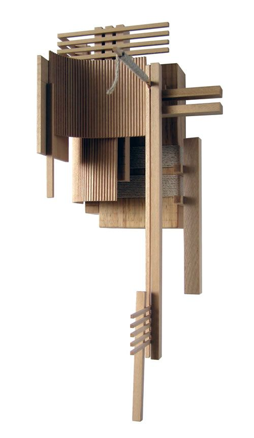 Construction 3, wood sculpture inspired by architectural models