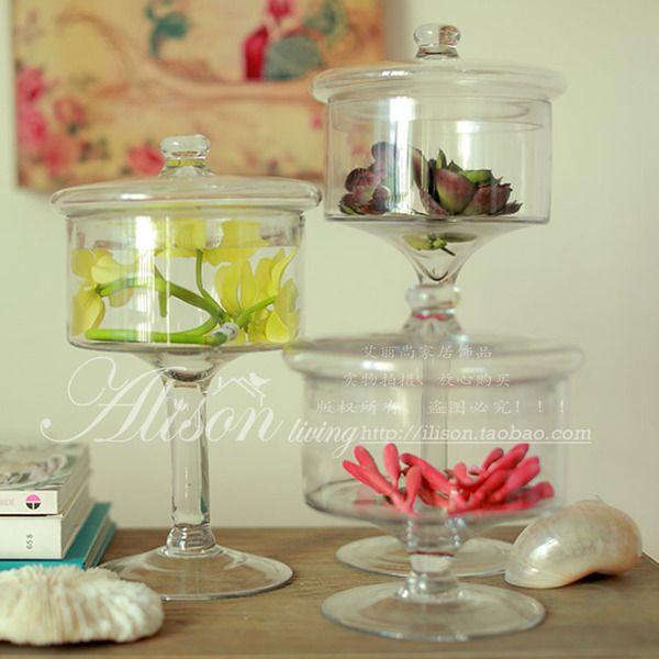 欧式水晶玻璃糖果罐 婚庆酒店PRATY桌面装饰摆设 高脚零食储物罐