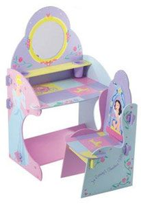 DISNEY Princess Vanity Table and Chair  Vanity table with mirror and 2 cup holders.  http://www.comparestoreprices.co.uk/childrens-furniture/disney-princess-vanity-table-and-chair.asp   #disney #disneyfurniture #kidsfurniture #childrensfurniture