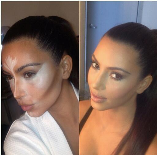 how to contour your face kim kardashian