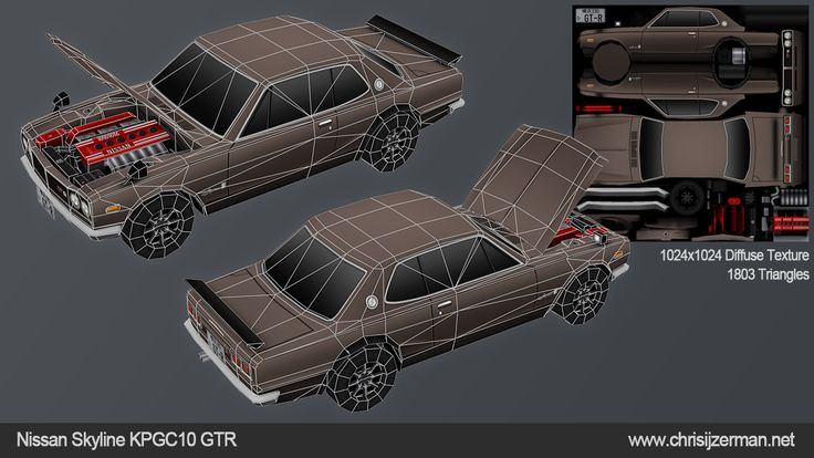 Nissan Skyline KPGC10 lowpoly model