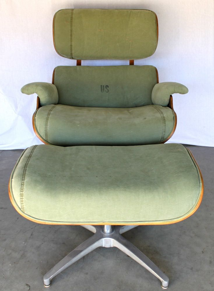 Image of Industrial Army Surplus Eames-Style Lounge and Ottoman