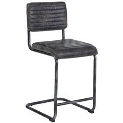 Capra Industrial Loft Antique Ebony Leather Counter Stool   Kathy Kuo Home