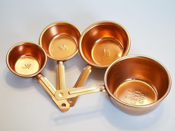 Set of 4 vintage Colorcraft Copper Measuring Cups Light with