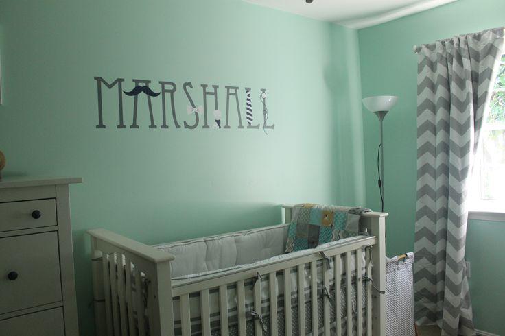 mint green grey chevron mustache nursery