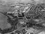 Kingston, aerial view from Riverside Hostel, Barton, looking southwest to Eastlake Hostel, March 1953