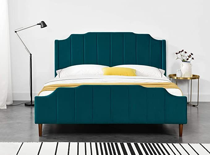 Amazon Com Allewie Queen Size Platform Bed Frame With Plush Velvet Upholstered Headboard And Foo Bed Frame And Headboard Upholstered Headboard Queen Bed Frame Cheap queen bed frames and headboards