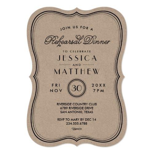 Vintage Wedding Rehearsal Dinner Vintage Kraft Art Deco Wedding Rehearsal Dinner Card