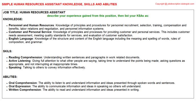 Human Resources Assistant Knowledge Skills And Abilities