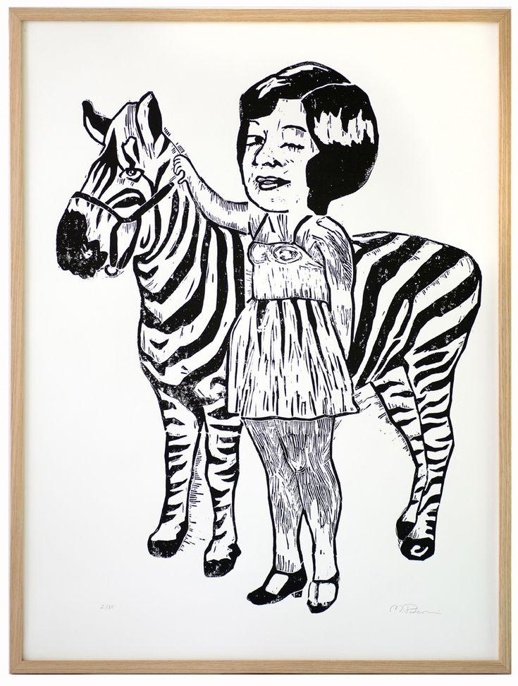 Zebra girl. Lino print. 60x80cm. monikapetersen.com