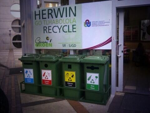 Recycling at Potchefstroom campus. Image supplied by North-West University.