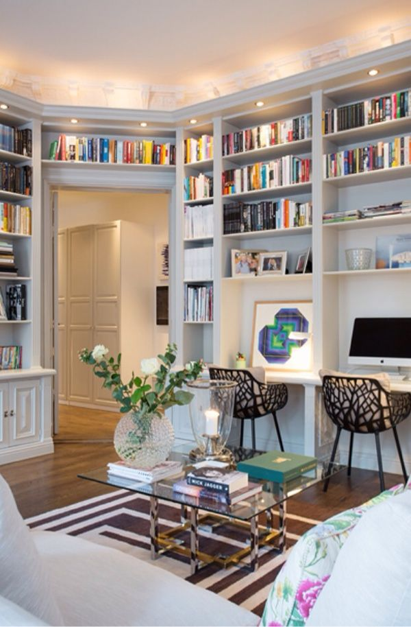 Home office idea. Love the shelving and cool space for kiddos to do homework.
