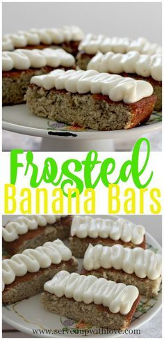Frosted Banana Bars recipe from Served Up With Love. No need to let those bananas sitting on the counter go to waste.#easy #recipes #banana #desserts