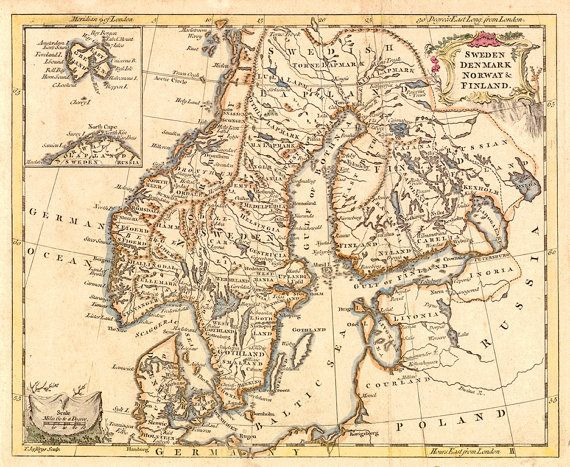 Map of Sweden, Denmark, Norway, and Finland.  1760.  Restoration Hardware Home Deco Style Old Wall Vintage Reprint.